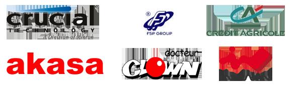 Nos partenaires: Crucial, Akasa, FSP-Group - In Win et Crédit Agricole